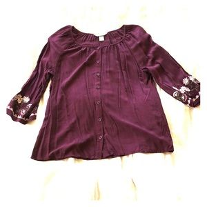 Christopher & Banks Embroidered Button up Blouse